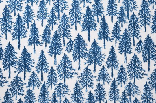blue christmas fir print pattern