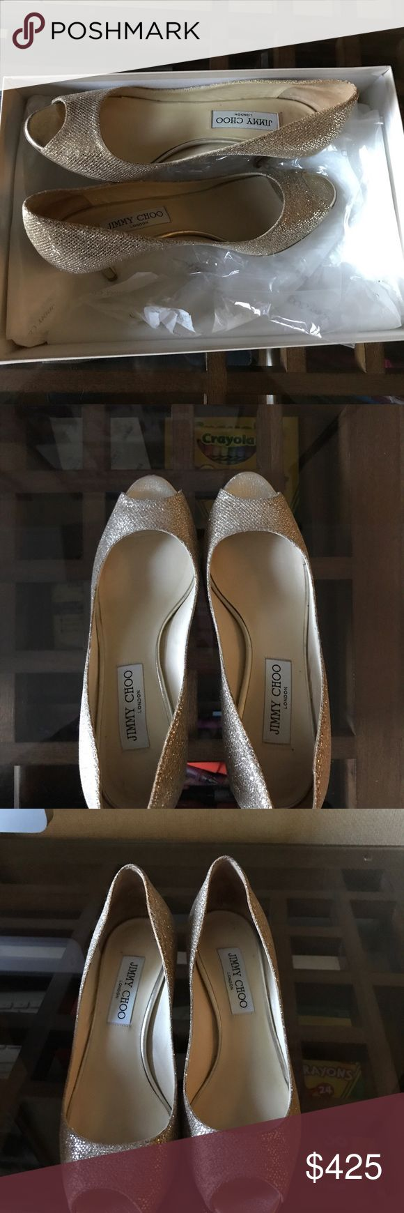 Jimmy Choo Gold Peep Toe Heel Only worn once! Fantastic condition. Authentic. Purchased from Neiman Marcus. So cute and spice up any outfit! Great for the holiday season. Heel is 2.5 inches tall! Very easy to walk in. Jimmy Choo Shoes Heels