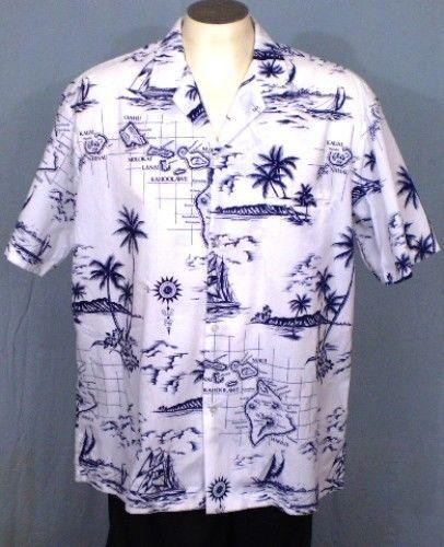 08c39791 Royal Creations White XL Hawaiian Shirt Dark Blue Island Names Cotton Blend  #RoyalCreations #Hawaiian