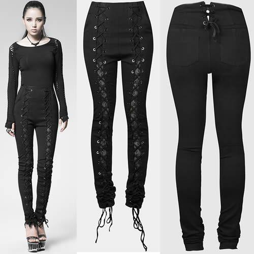 Cool Women Black Lace High Waist Goth Burlesque Clothing Leggings Pants SKU-11404269