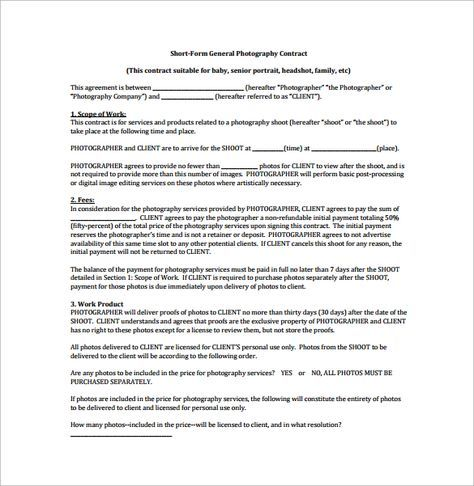 Short Form General Photography Contract Pdf Free