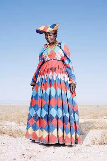 "An elderly woman of Namibia""s Herero tribe wearing a patchwork dress. Photographs by Jim Naughten:"