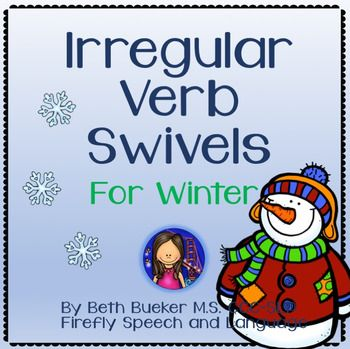 A fun new way to practice irregular verbs!Includes 20 pairs of irregular past tense verbs.Designed to be cut, laminated, then attached with a brass fastener for swivel action!The winter-themed cards can double as interactive irregular verb practice and cute bulletin board decoration.Hope you and your students enjoy!Beth Bueker Firefly Speech and Language *If you already own my Irregular Verb Swivels for Fall then this is a whole new set! $2.40