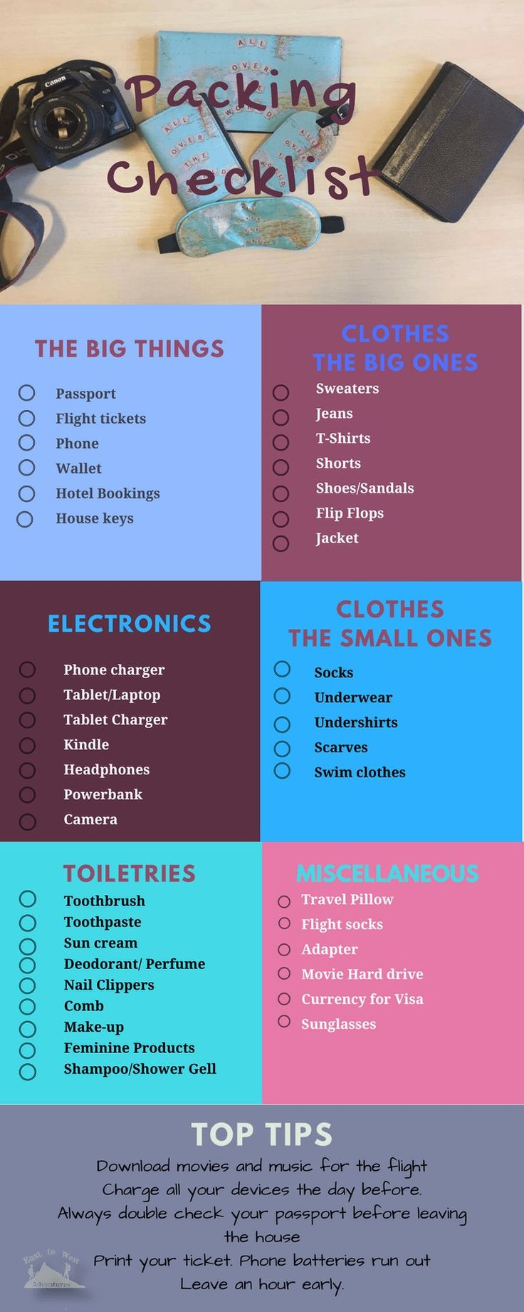 Make sure you don't forget anything with our packing checklist http://www.easttowestadventures.com/en/dont-forget-packing-checklist/ #easttowestadventures #travelblogger #travelphotography #travelphotographer #packinglist #packingtips #checklist #travelchecklist
