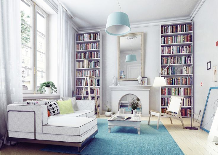 Silver Art Deco theme couch in room with a bookshelf