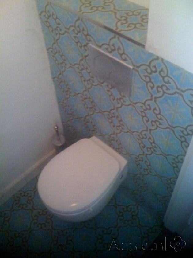 Cementtiles Toilet - Verde 08 - Project van Designtegels.nl