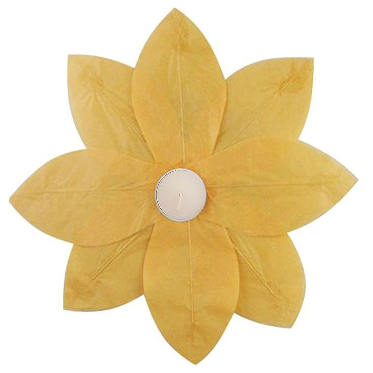 LumaBase 6-pk. Lotus Floating Paper Lanterns - Outdoor, Yellow