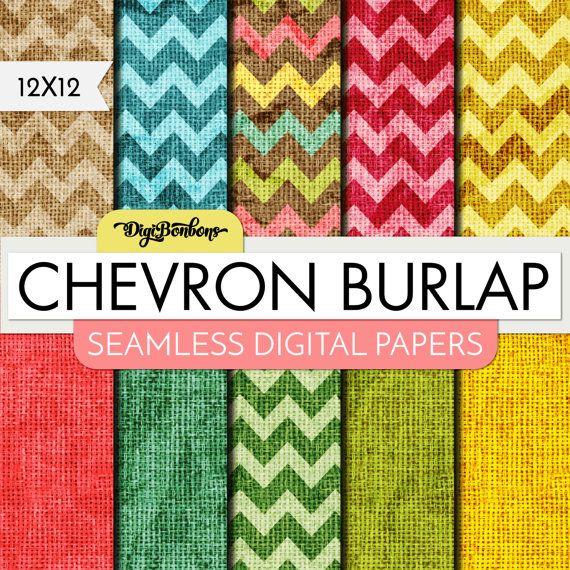 Digital Paper Pack Chevron Burlap   Digital Scrapbook 12 x