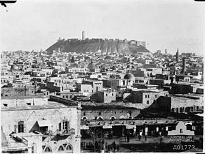 Aleppo c1918 with the Citadel in the background