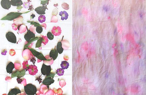 Tela teñida con flores
