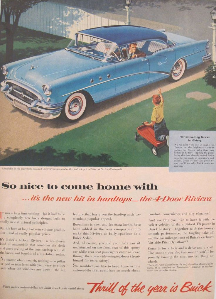"""1950s Matted American Buick Car Advertisement, Thrill of the Year. A fabulous lithographic car advertisement printed in the 1950s and extolling the advantages of owning a Buick 4-door Riviera, including added roominess so that """"you and your lady can sit undisturbed on the front seat."""" They really did think of everything!"""