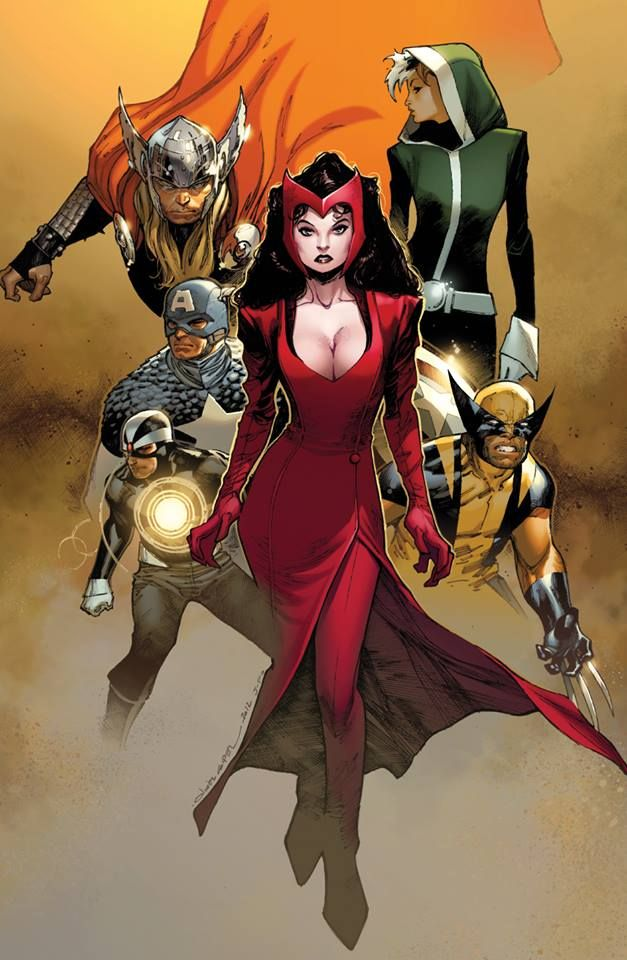 the Uncanny Avengers (the Mighty Thor, Havok, the Scarlet Witch, Rogue & Wolverine) by Olivier Coipel