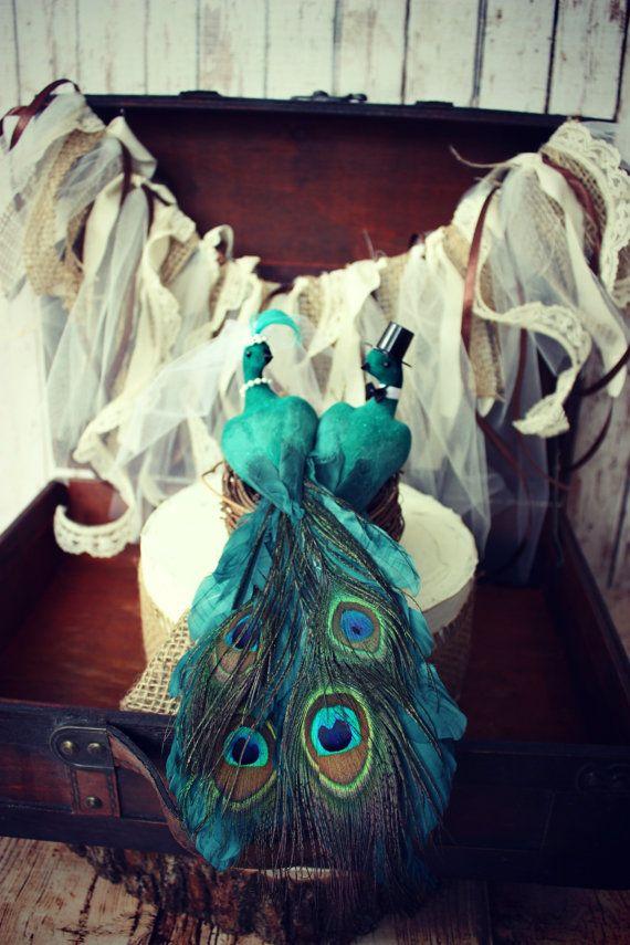 Peacock wedding cake topper-peacock-cake topper-wedding cake topper-feathers-animal-bird-love birds-bride and groom-custom-just married