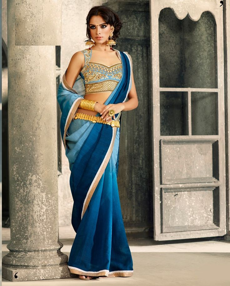 Blue Shaded #Saree With Embroidered #Blouse. Available At Rutbaa.com.