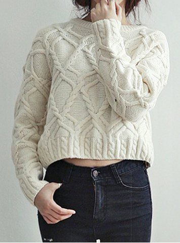 Sweet Jewel Neck Cable-Knit Long Sleeve Sweater For Women