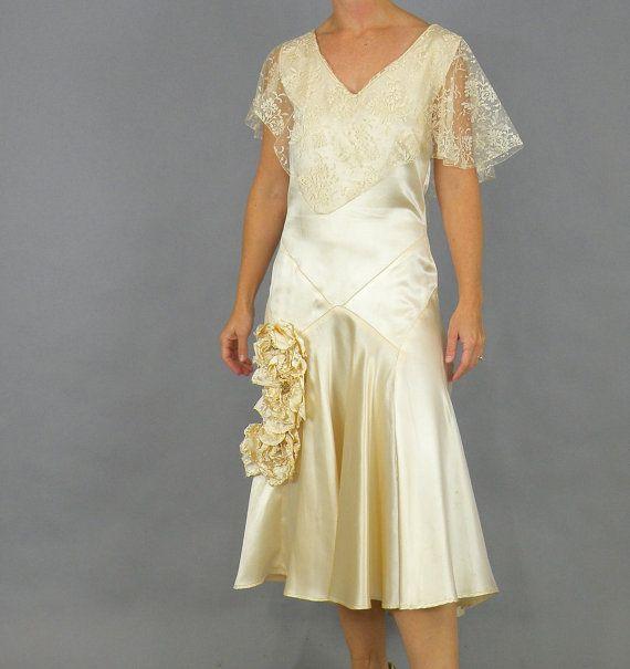 1920s Wedding Dress and Photograph, 20s Dress, Flapper Wedding Dress, 1920s Candlelight Satin Lace Dress, Original Bridal Portrait & Netting