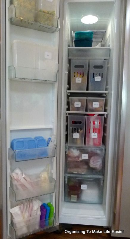 Freezer Organization Using Plastic Storage Bins And Labels