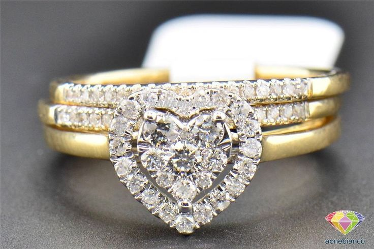 Heart Shaped 3 Piece Diamond Bridal Set 14K Yellow Gold Engagement Ring 1.50 CT #aonebianco