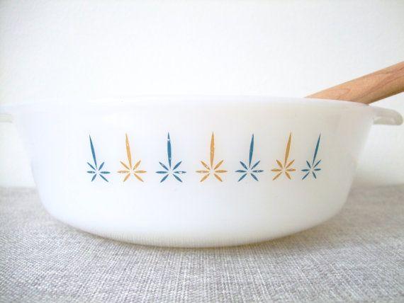 Vintage Anchor FireKing casserole dish White candle glow