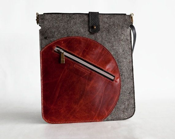 iPad case with strap Felt and leather padded sleeve  by Rimanchik