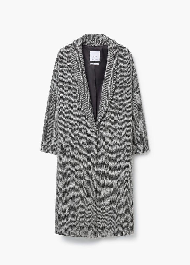 Herringbone pattern wool coat   MANGO