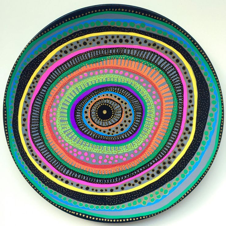 Decorative Plate - Mandala Spiral Colorful - Original hand-painted Artwork - Wall Hanging - Wall Decor by biancafreitas on Etsy