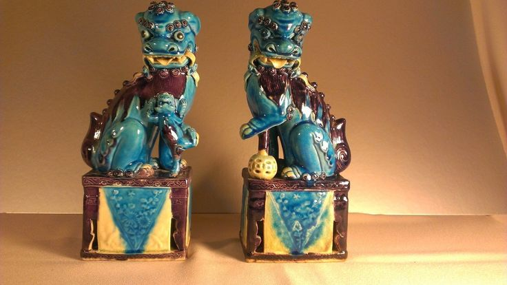 Chinese Foo Dogs San Cai Old Pair Vintage with CHINA stamps | eBay