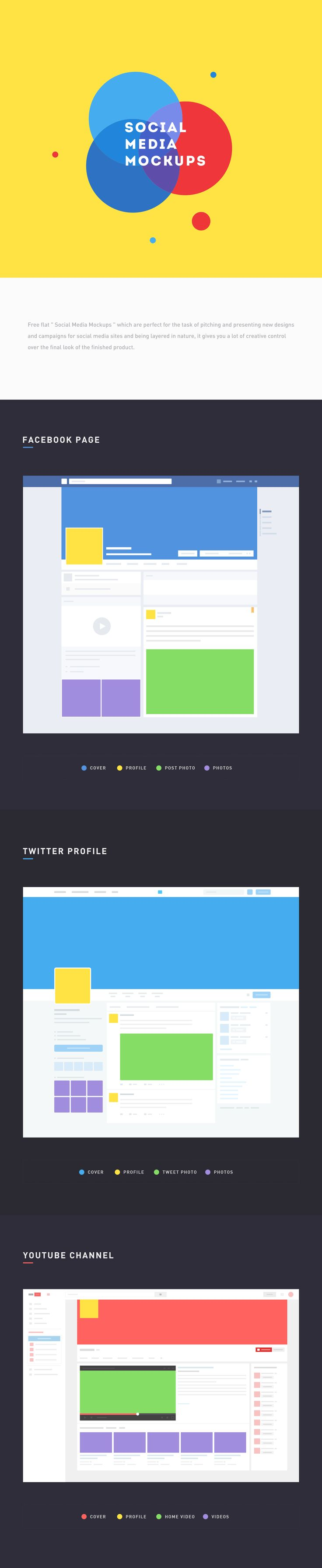 "free flat "" social media mockups "" which are perfect for the task of pitching and presenting new designs and campaigns for social media sites and being layered in nature, it gives you a lot of creative control over the final look of the finished product. …"