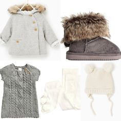 H&M, Zara 2016 fall baby girl outfit idea. H&M Grey knitted dress, ugg boots, white tights. Zara grey coat, white hat.