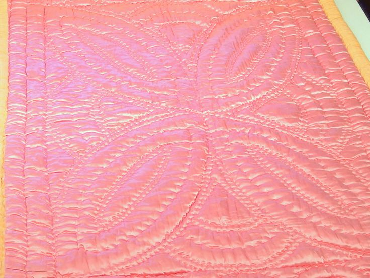 Antique Pink Quilt Satin Hand-Quilted 1920's Rare Single Wool Cotton Filling Duvet Boutis Collectibles by VintageHomeStories on Etsy