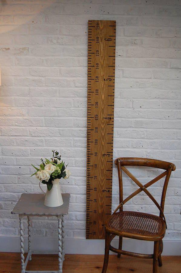 'kids rule' wooden ruler height chart mid oak by lovestruck interiors | notonthehighstreet.com