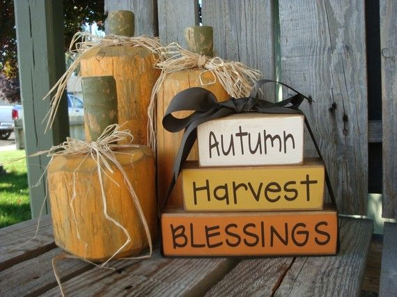 Autumn, Harvest, Blessing Fall Wood Block Set Thanksgiving Gift Home Season Decor Sign Personalized Primitive. $17.95, via Etsy.