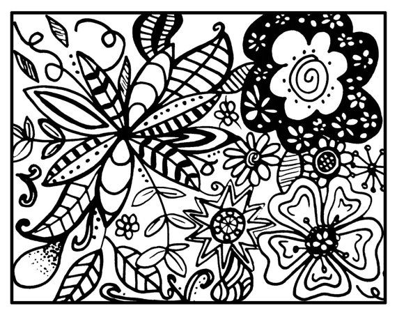 Zendoodle Zentangle Printable Coloring Page Whimsical Floral