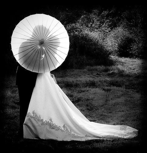 With a lace umbrella? :)