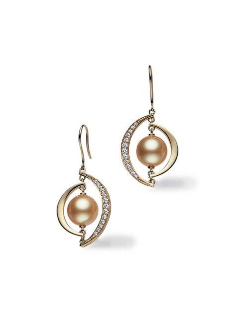 Ellipse Golden South Sea Earrings by Mikimoto