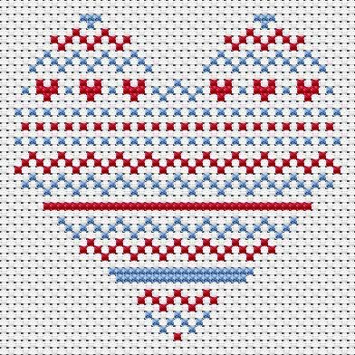 Scandinavian Christmas Heart Card cross stitch kit
