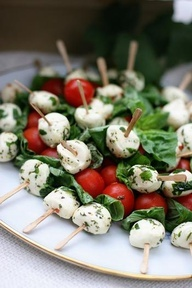 tomato,basil,mozzarella skewers...to make a meal add fish/meat