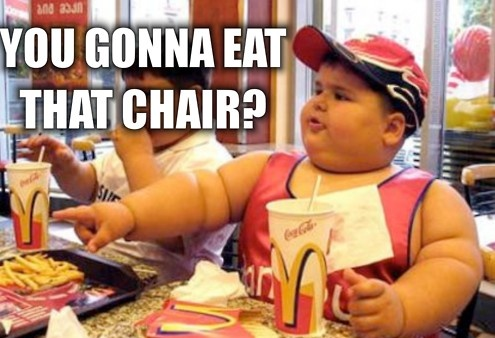 The bias in this picture is the fact that they are blaming McDonalds for the child's obesity and saying that he overeats. The saying on this picture needs to be reconsidered as to if it is the actual fault of McDonalds, the parents, or maybe a disorder to avoid assumptions being made (In-class Discussion, January 27, 2014).