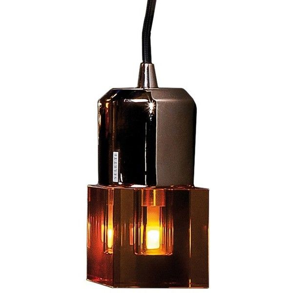 Square Crystal Lamp in Amber (1,825 MXN) ❤ liked on Polyvore featuring home, lighting, italian lighting, crystal glass lamp, italian lamps, crystal lamps and amber lamp