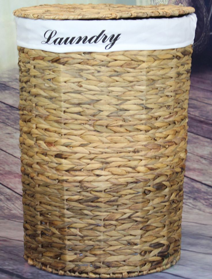 Wicker Laundry Hamper with Removable Linen Liner and Lid