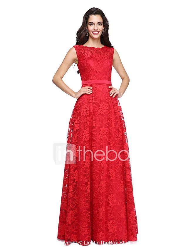 A-Line Bateau Neck Floor Length Lace Satin Prom Formal Evening Dress with Lace Sash / Ribbon by TS Couture® 2018 - $129.99