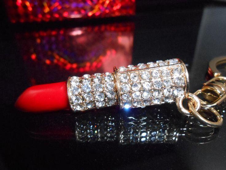 Rhinestone Lipstick Keychain, Crystal Bling Purse Charm , Women's Handbag Charm, Red Lipstick Charm W/Keyring, Bling Car Decor Accessory by BlingCarDecor on Etsy https://www.etsy.com/listing/239636735/rhinestone-lipstick-keychain-crystal