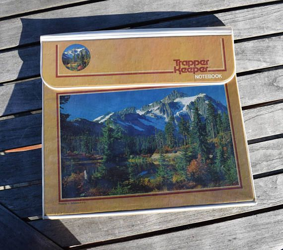 Vintage 80s Trapper Keeper Notebook Mountains Snow Lake