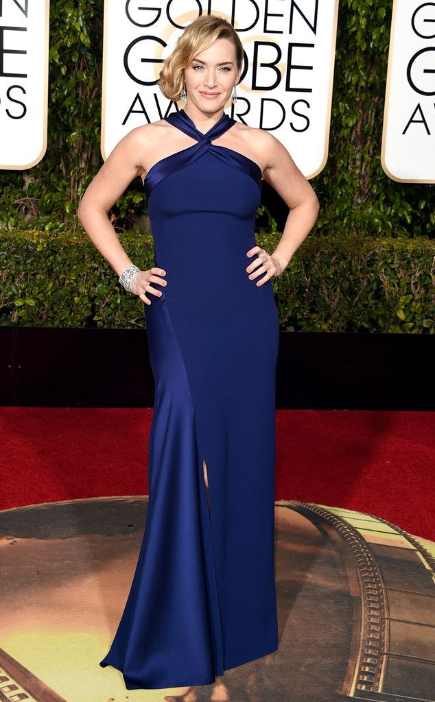 Kate Winslet from 2016 Golden Globes Red Carpet Arrivals  In Ralph Lauren. Gorgeous blue on her!