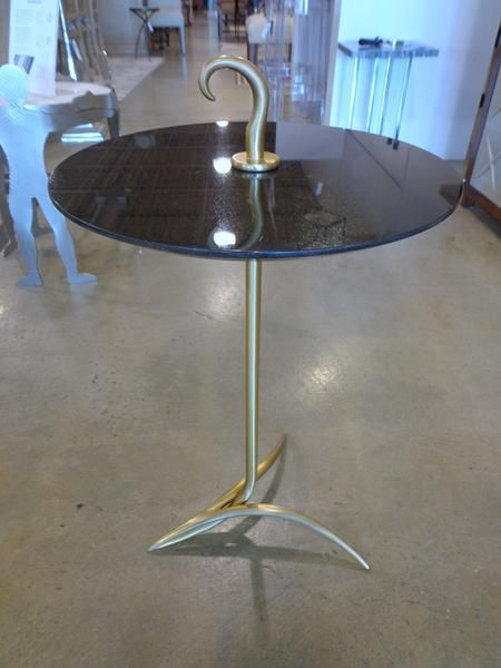 Gold Side Table with Black Granite
