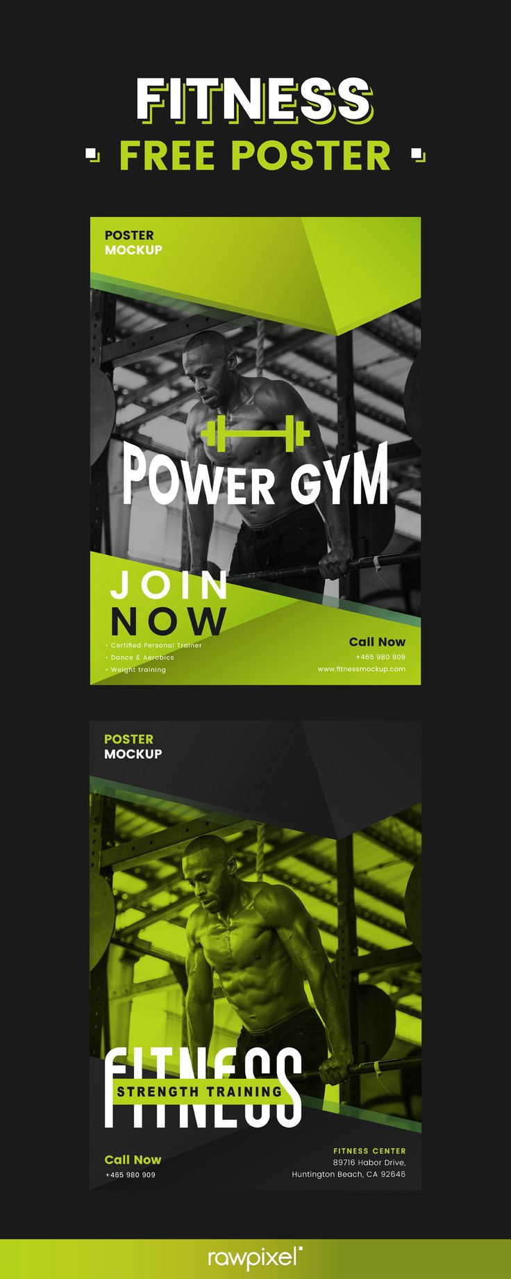 Download free poster templates for fitness centers and