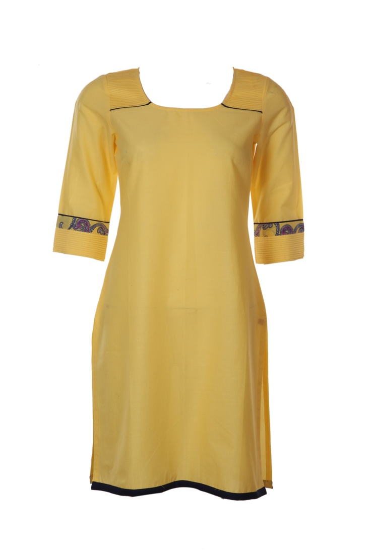 Paisley Pop is amalgamation of classic paisley with pop colors which is a rare and unusual combination.  W for Woman Spring/Summer Collection 2013.  #w #woman #kurta #yellowish #embroidery #india #ethnic #wear #clothing #fashion #style #top #paisley #pop