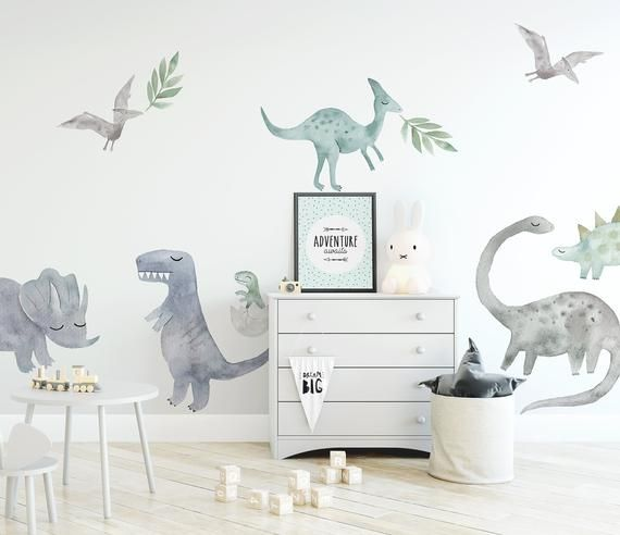 Watercolour Dinosaurs Wall Decal Set Regular Price In 2019