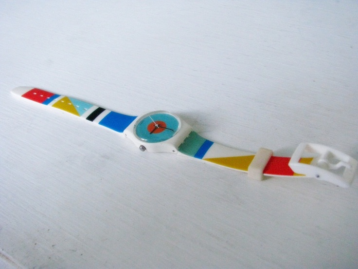 {vintage 1988 Swatch Watch - mod geometric color blocking}  It makes me feel old when 1988 and vintage are together....and yup I had a few Swatches