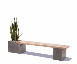 make a bench using a wood plank and cement *box*